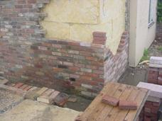 Brickwork over the blockwork