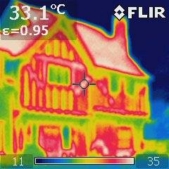 Thermal image photo of a Tudor house